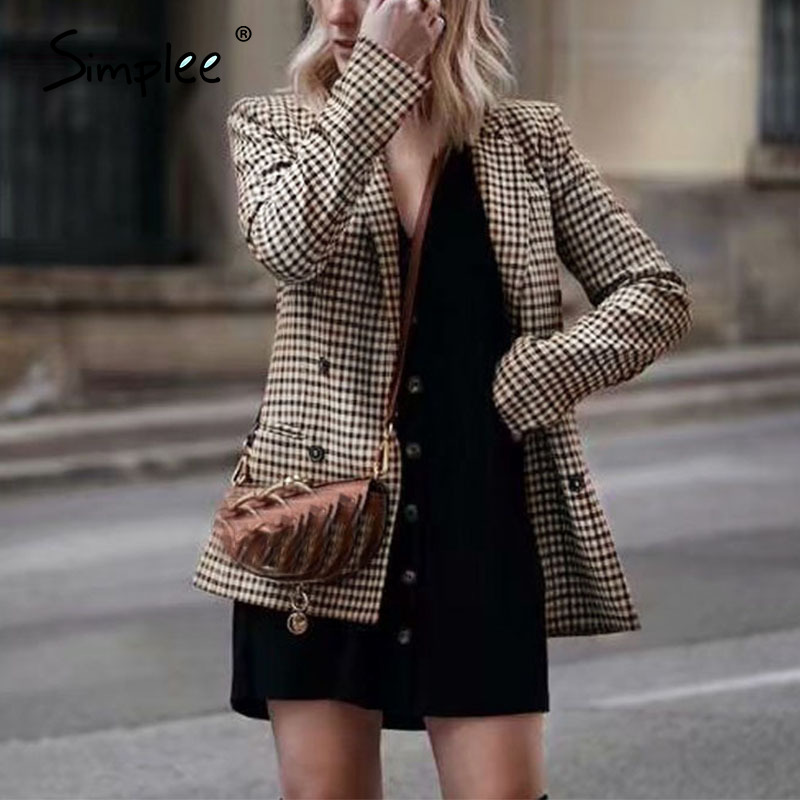 Simplee Fashion Double Breasted Plaid Blazer Female Long Sleeve Office Ladies Blazer 2018 Autumn Jacket Women Outerwear Coats