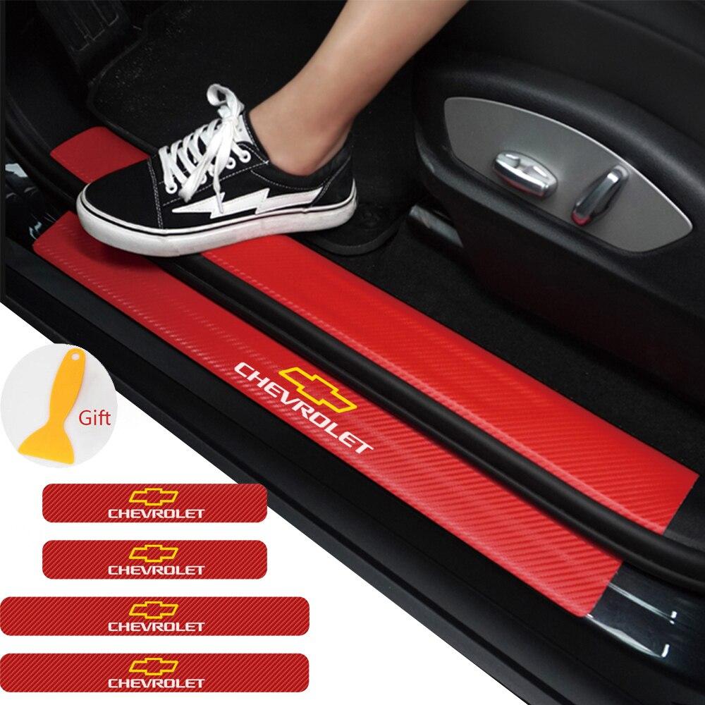 4 unids/set puerta umbral cubierta de pegatinas para Chevrolet Captiva Colorado Cruze chispa Chevrolet Malibu, Trax puerta Pedal Accesorios