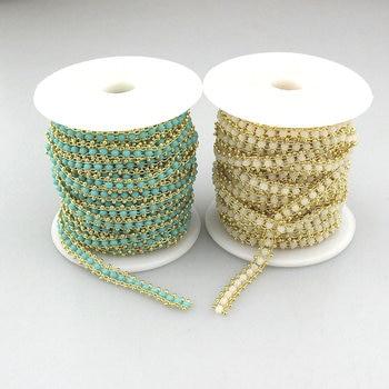 10m 1roll/lot crystal glass bead chain, fashion glass bead rosary chain,jewelry making bead rosary chain