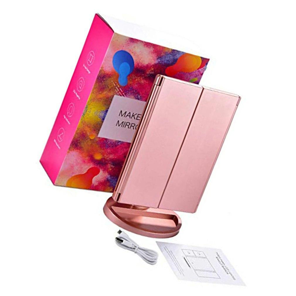 beleza lente de preenchimento de ouro rosa led espelho dobrável