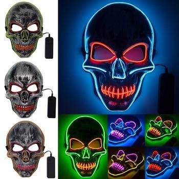 Halloween LED Mask EL Mask Halloween Skull Scary Mask LED Mask Mask For Halloween Cosplay Festival Party Halloween Costume Props scary halloween adult cave demon mask the faun skull skeleton mask