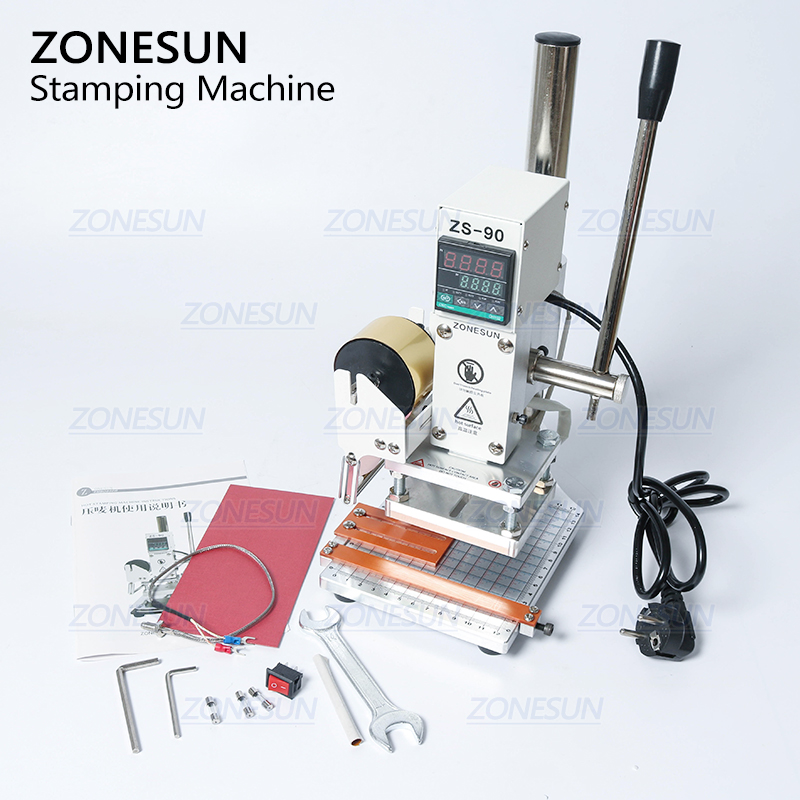 ZONESUN ZS90 New Hot Foil Stamping Machine Manual Bronzing Machine for PVC Card Leather Paper Embossing Stamping Machine-in Tool Parts from Tools    3