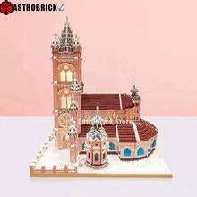 Rosa sagrado coração igreja diamante blocos de construção vietnam famosa arquitetura micro tijolos crianças brinquedos para presentes aniversário menina
