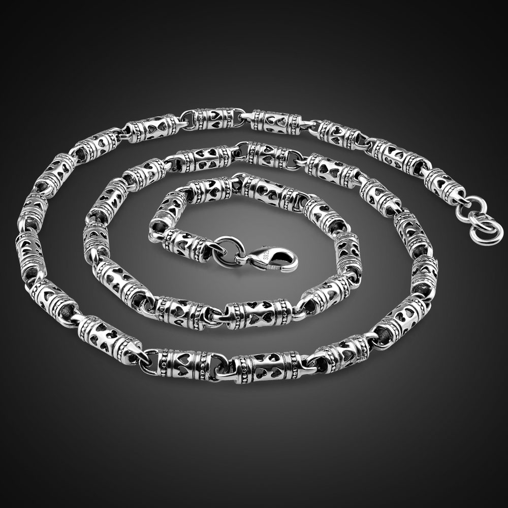 Real 100% 925 Sterling Silver Men's Necklace Hip-Hop Punk Style 24 inches Chain Fashion Men/ boy Retro Thai Silver Jewelry
