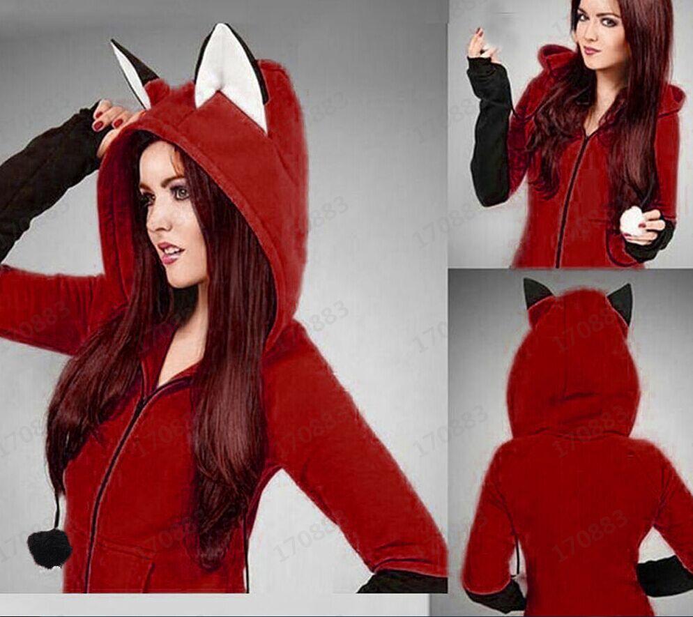 Women Hoodies Sweatshirt Kawaii Cat Ear Pattern Long Sleeve Hooded Sweatshirts