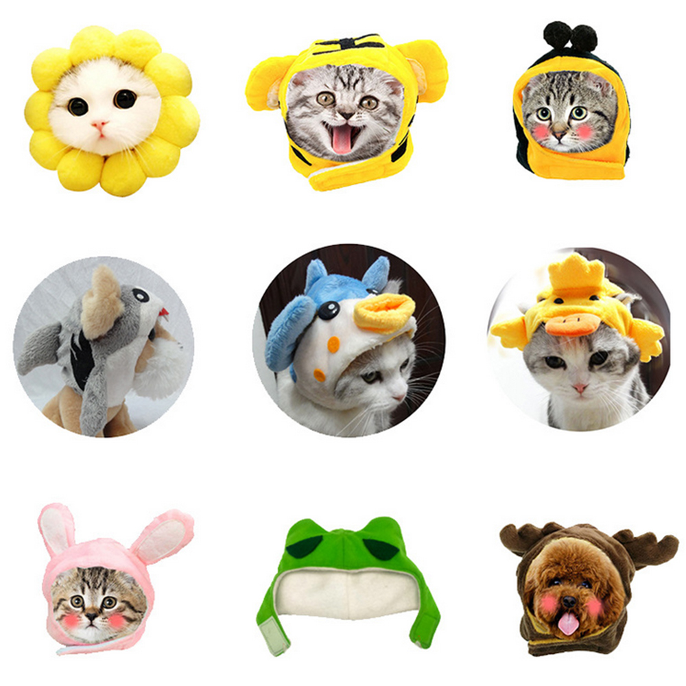 Dog Cat Headgear Cute Cartoon Animals Shapes Hat Chat Accessoires Pour Chats Gatos Cosplay Costume Decoration For Halloween