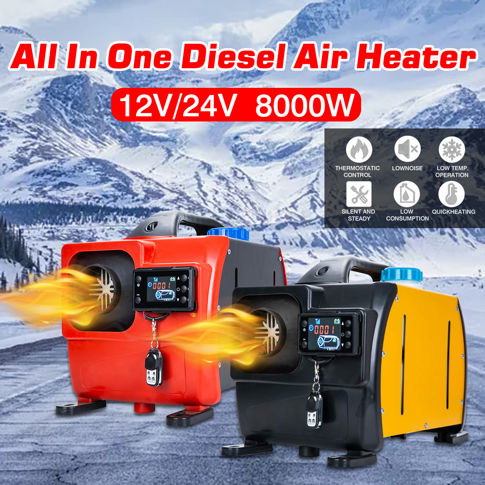 12V 24V ignition copper heater 8kw All in one Car Heater Air Diesel Parking Heater For RVs Motorhome trucks LCD Remote Control|Heating & Fans| - AliExpress