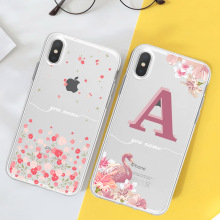 Clear Flower Letters Phone Case For iPhone X XR XS Max 7 8 6 6s Plus  Custom Name DIY Flowers Soft TPU Transparent Back Cover