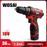 WOSAI 16V Cordless Drill Electric Screwdriver Mini Wireless Power Driver DC Lithium-Ion Battery 3/8-Inch
