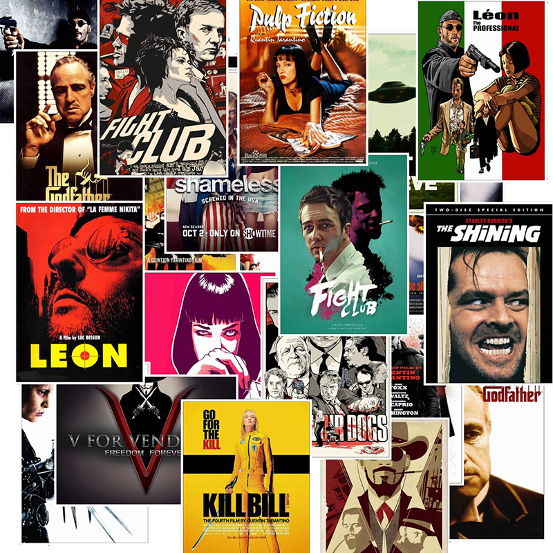 25pcs Classic Movie Stickers For Luggage Laptop Art Painting Kill Bill Pulp Fiction Poster Stickers Waterproof Skateboard Toy F4