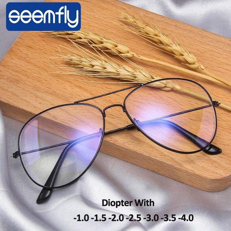 Seemfly-1,0-1,5-2,0-2,5-3,0-3,5 Для женщин, мужские очки для близорукости, очки с диоптриями оптические очки пилота рамки близорукие очки