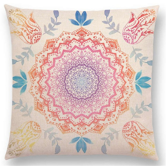Hot Sale Dreamy Rainbow Boho Gorgeous Mandalas Free Mind Savanah Prints Gold Nights Soul Cushion Cover Sofa Throw Pillow Case