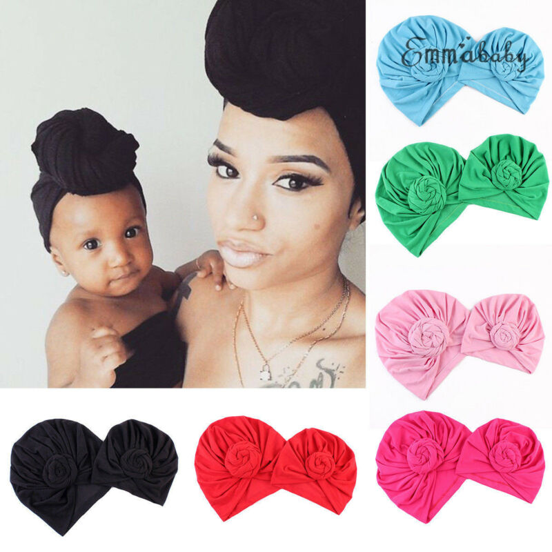 Baby Hats Sets 2Pcs Mother Daughter Matching Caps Cotton Solid Knot Head Cover Hat Wrap Turban Cap Soft Solid New