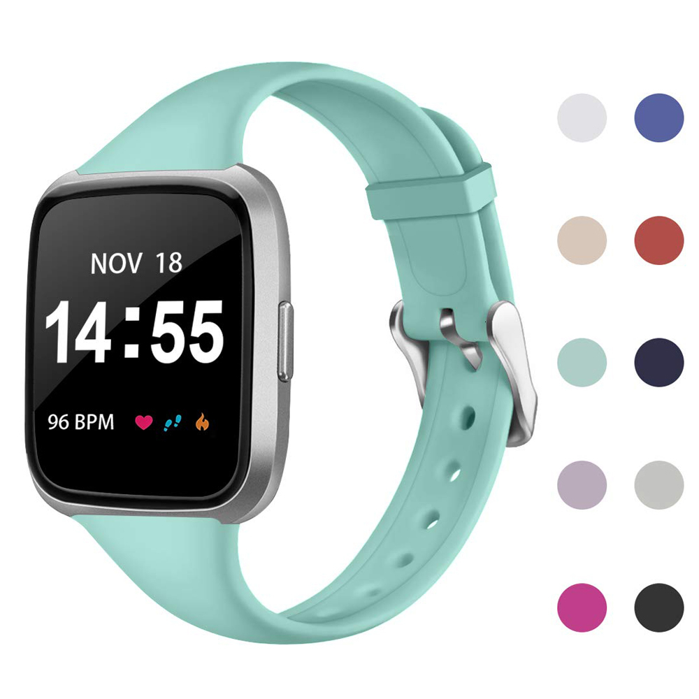 Band For Fitbit Versa 2 Strap Slim Thin Narrow Replacement Bracelet For Fitbit Versa/Versa 2 Band Silicone Smartwatch Wrist