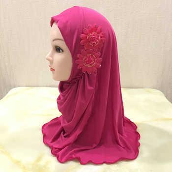 H1404 beautiful small girl hijab with 2 flowers islamic scarf hijab small hats