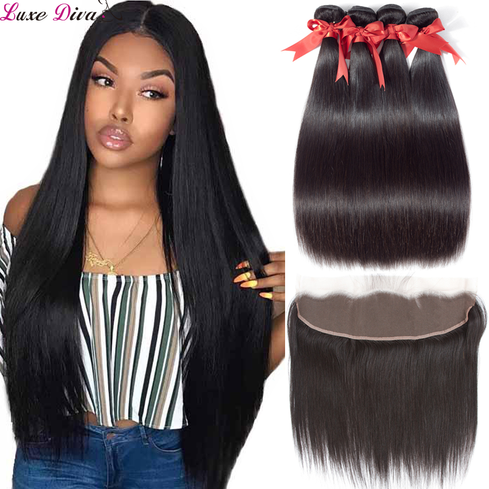Luxediva Brazilian Straight Hair Bundles With Frontal Closure Human Hair Weave Bundles With Lace Closure NoRemy Hair Extensions