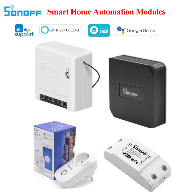 Smart Home Automation Modules Sonoff T1 EU 2C Diy Wireless Timer Wifi Switch, Sonoff S20 Socket, Sonoff Basic R3, Sonoff Mini