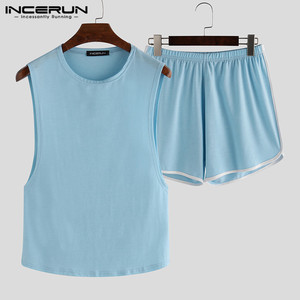 Image 4 - INCERUN Summer Fashion Men Pajamas Sets Sleeveless O Neck Tank Tops Shorts Solid 2020 Homewear Casual Sexy Sleepwear Sets S 5XL