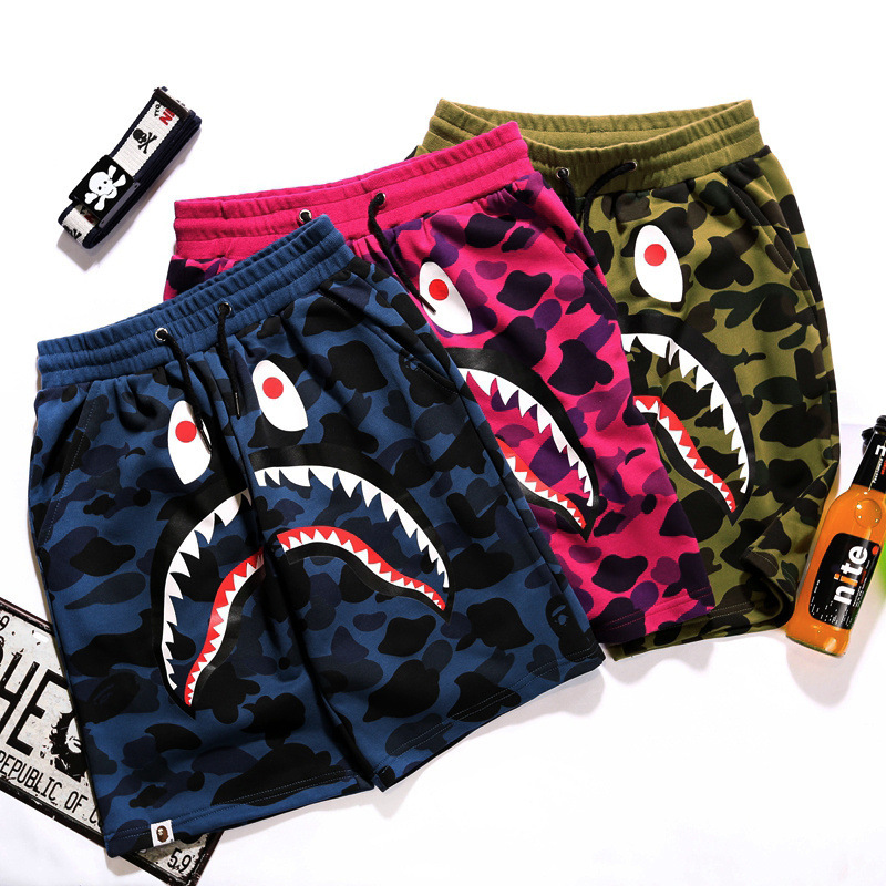 Japanese-style Popular Brand Shark Mouth Camouflage Pure Cotton Large Size Straight-Cut Shorts Teenager Lace-up Shorts