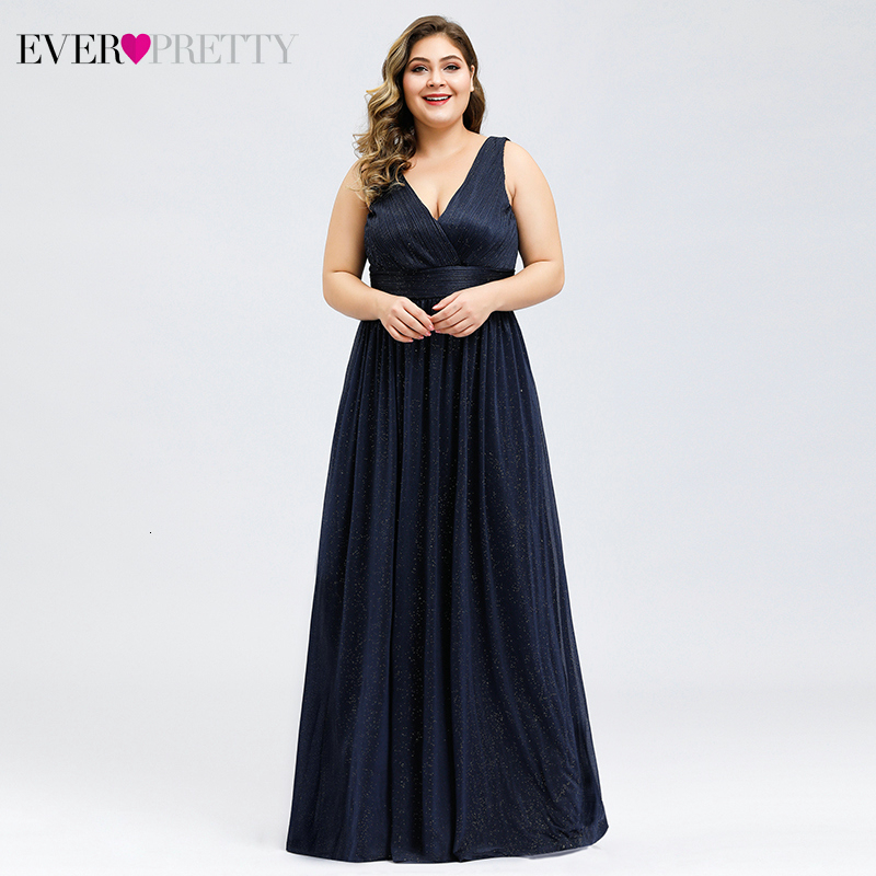 Plus Size Prom Dresses Ever Pretty Ruched Deep V-Neck Sleeveless A-Line Draped Tulle Elegant Long Party Gowns Vestido De Gala
