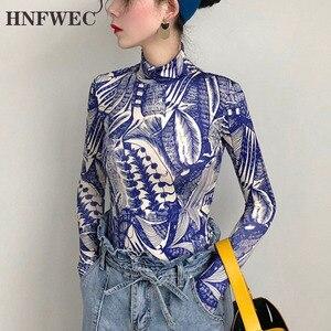 Весна 2020 горячая Распродажа новая водолазка Арт Принт облегающая блузка с длинным рукавом Ретро Татуировка личность футболка F706