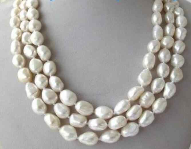 Jewelry Pearl Necklace 3 Strands 8-9White Baroque Freshwater Pearl Necklace Free Shipping