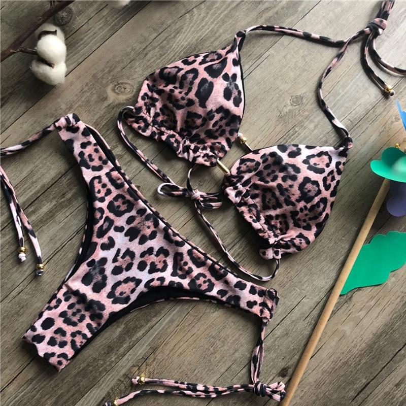 Brazilian bikini thong 2019 Leaves print bathing suit Tassel swimwear women Sexy swimsuit female Push up bathers new biquinis 2