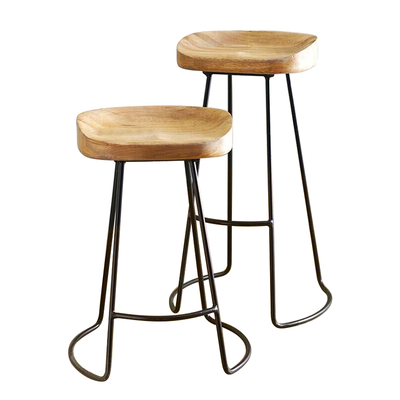 Modern Minimalist Bar Stool Solid Wood European Home Bar Creative Coffee Casual Dining Stool Nordic Wrought Iron High Chair