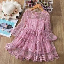 Lace Girls Princess Dress Flared Sleeve Embroidered Casual Dress Kids Girls Birthday Party Costume 2-8Y Children Clothing
