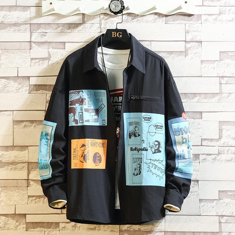 Plaid Men Long Sleeve Punk Shirt Loose Japanese Streetwear Fashion 2020 HIP HOP Casual Shirts Plus Asian Size M-5XL