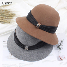 USPOP 2019 New Autumn winter hats women wool fedoras fashion wide brim diamond hat female thick high quality