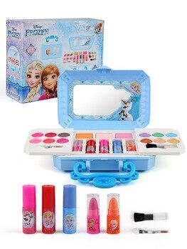 새로운 디즈니 걸스 냉동 엘사 안나 화장품 뷰티 세트 장난감 키즈 백설 공주 패션 완구 놀이 집 어린이 선물
