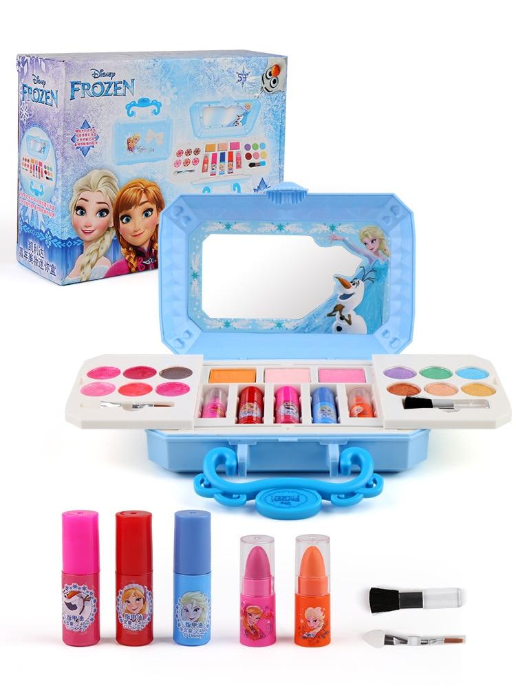 Nouveau Disney filles congelées elsa anna cosmétiques ensemble de beauté jouet enfants neige blanche princesse mode jouets jouer maison enfants cadeau