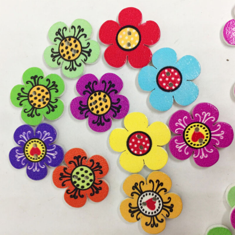 New 100 Pcs 2 Holes High Quality Natural Wooden Buttons Colorful Mixed Flowers Wave Edge Scrapbook Sewing Accessories DIY Craft