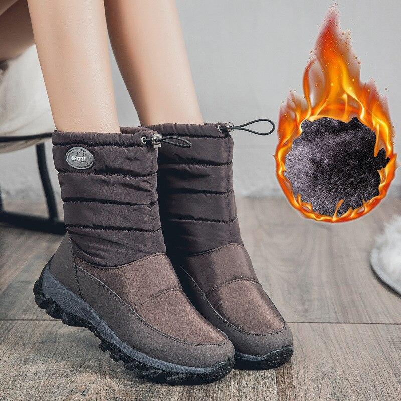 2019 nouvelles femmes bottes hiver cheville imperméable à l'eau chaude neige bottes plate-forme garder avec épais fourrure talons Botas Mujer chaussures femme