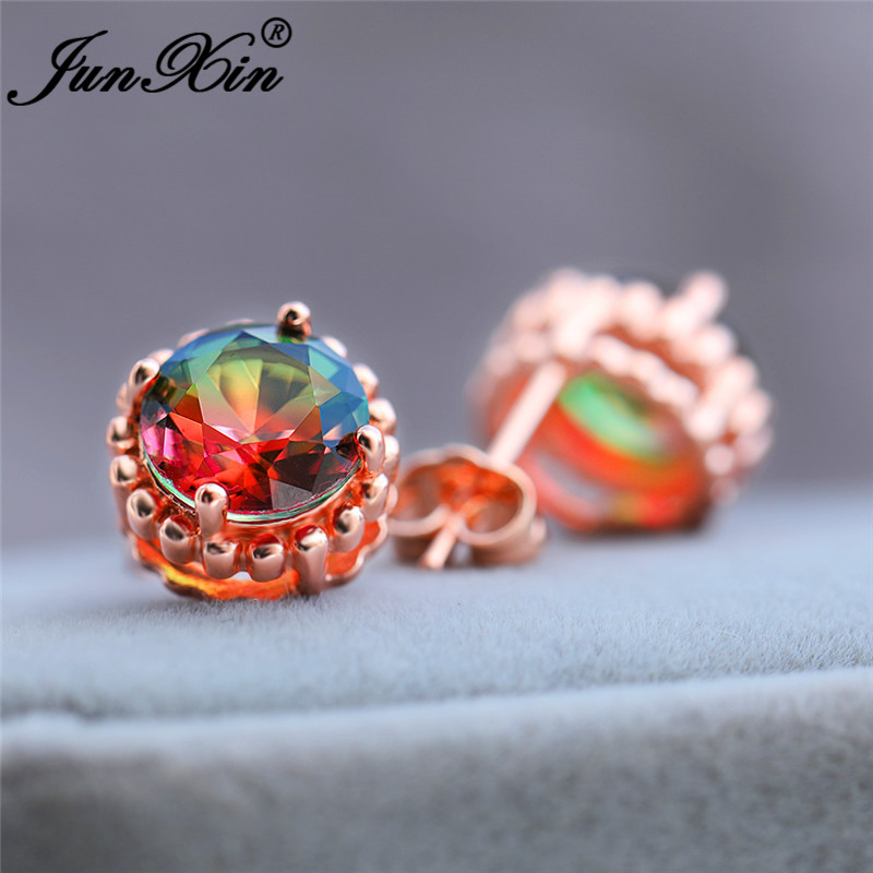 Gradient Rainbow Crystal Round Earrings White Rose Gold Colorful Zircon Mystic Fire Red Green Stone Stud Earrings For Women CZ