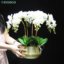 Witte Orchidee (7Pcs Orchidee + 5Pcs Bladeren) diy Bloem Arrangement Real Touch Faux Bloem Kantoor Decoratie Event Middelpunt Indigo
