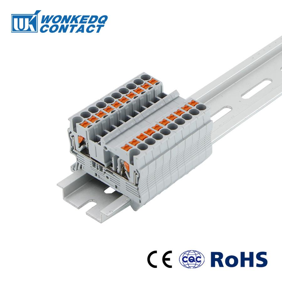 Din Rail Terminal Blocks PT-2.5 PHOENIX CONTACT Push In Spring Screwless 10pcs Electrical Terminal Block Connector PT2.5