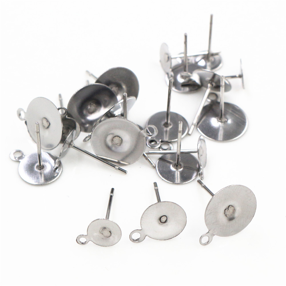 No Fade 100pcs/lot Stainless Steel Blank Earring Stud Fit 6/8/10mm Cabochon Cameo Settings DIY Jewelry Making Accessories