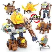 5 En 1 Asamblea deformación Zombie jefe Robot muñeca de plantas de PVZ vs Zombies juguetes de PVC MODELO DE figura de acción juguetes chico regalo
