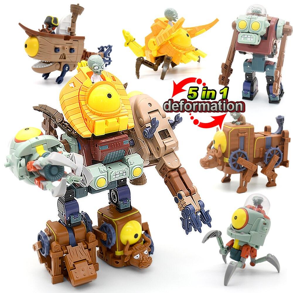 5 in 1 montaj deformasyon zombi patron Robot bebek PVZ bitkiler vs Zombies eğitici oyuncaklar PVC eylem şekilli kalıp oyuncaklar çocuk hediye