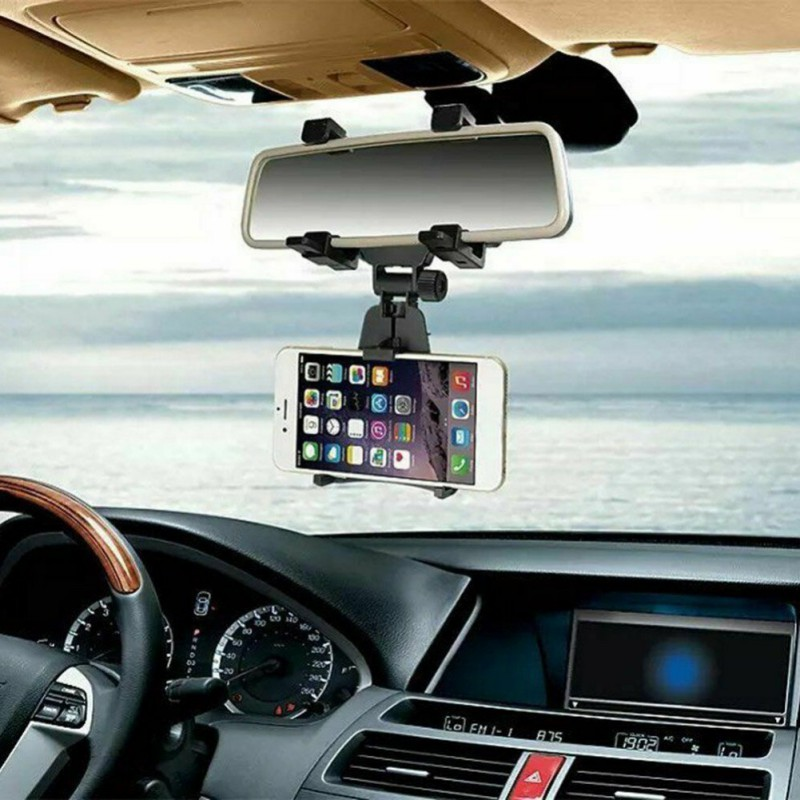 Universal Car Rear View Mirror Mount Phone Holder Firm Smartphone Stand Cradle Compact Lightweight Practical Phone Accessories