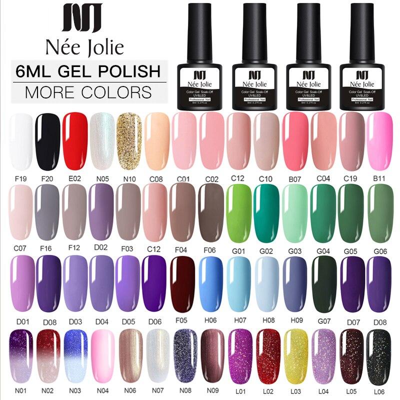 NEE JOLIE Gel Polish Set UV Vernis Semi Permanent Primer Top Coat 8ML Nail Gel Varnish Nail Art Manicure Gel Polishes Nails