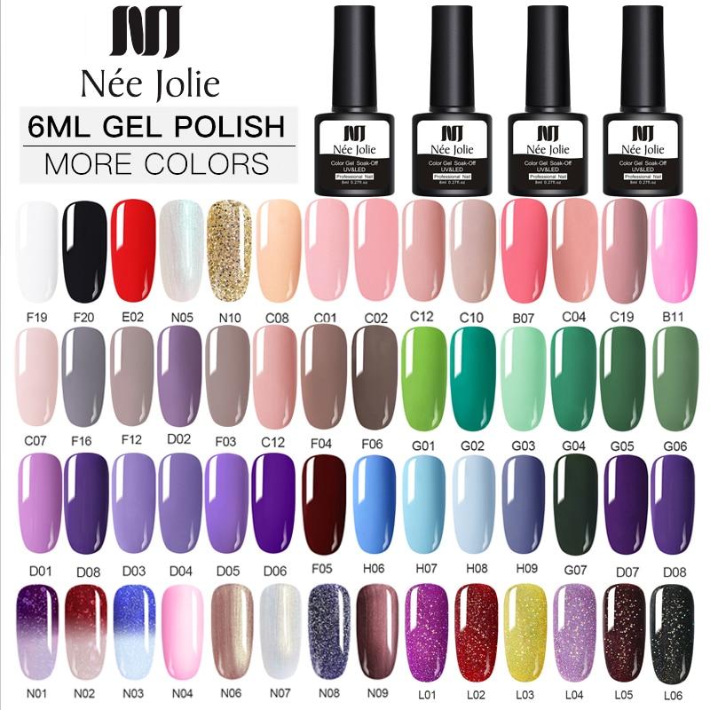 NEE JOLIE Gel Polish Set UV Vernis Semi Permanent  Top Coat 8ML Nail Gel Varnish Nail Art  Gel Polishes Nails