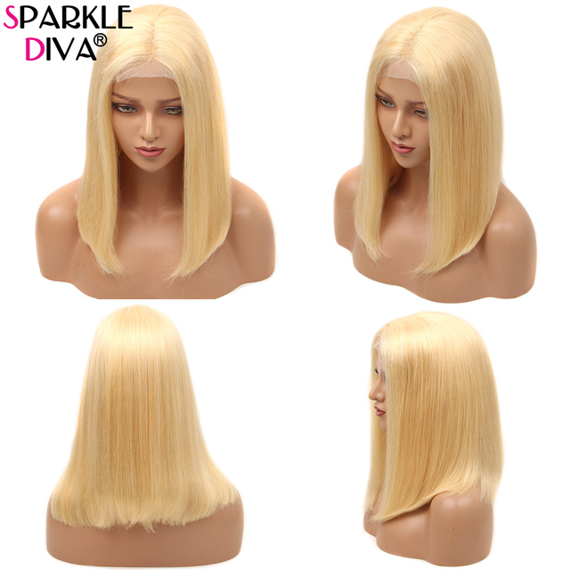 613 Blonde Short Bob Wigs Lace Front Human Hair Wigs Pre Plucked With Baby Hair Brazilian Straight Remy Hair 5*1 Lace Bob Wig 5