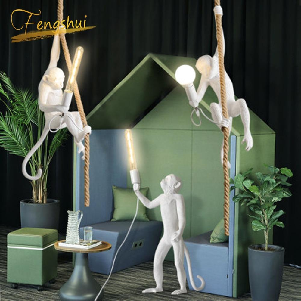 Современные светодиодные подвесные светильники, смоляная лампа в форме обезьяны, чердак, подвесной светильник для гостиной, спальни, ресто
