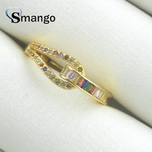 Women CZ Rings, Fashion Jewelry, Novel Design, The Rainbow Series,Gold Color Plated Can Wholesale,5pcs