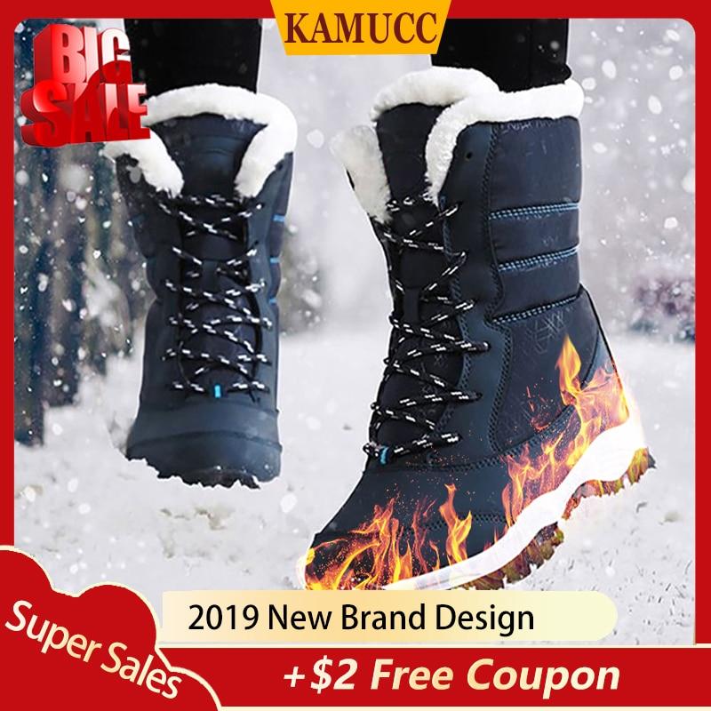 2019 Women Snow boots Waterproof Non slip Parent Child Winter Boots Thick Fur Platform Waterproof and