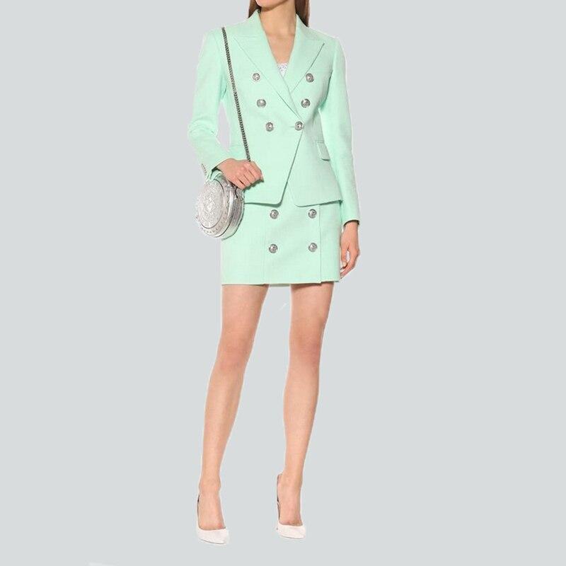 Stunning Design Euorpean American Women Elegant Mint Skirt Suits Slim Blazer Mini Skirt Fashion Quality Two Pieces Sets