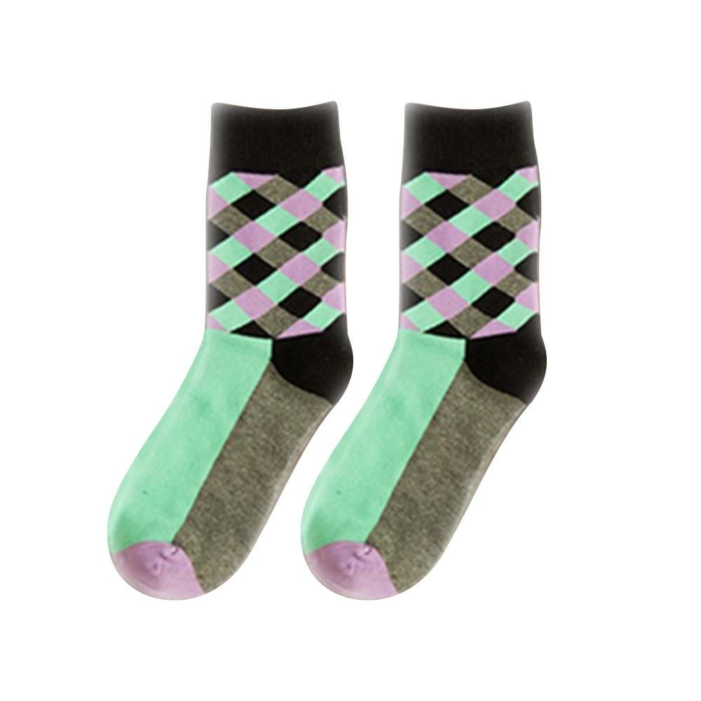 Дышащие повседневные теплые носки для женщин и девочек, удобные хлопковые носки в клетку, длинные зимние спортивные и уличные Дышащие носки - Цвет: grey
